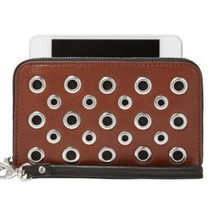 Fossil Sydney brown leather wallet with grommets